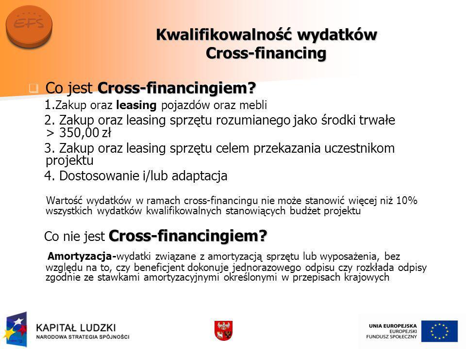 Kwalifikowalność wydatków Cross-financing Cross-financingiem.
