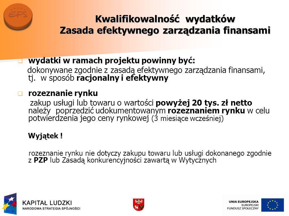 Kwalifikowalność wydatków Zasada efektywnego zarządzania finansami wydatki w ramach projektu powinny być: dokonywane zgodnie z zasadą efektywnego zarządzania finansami, tj.