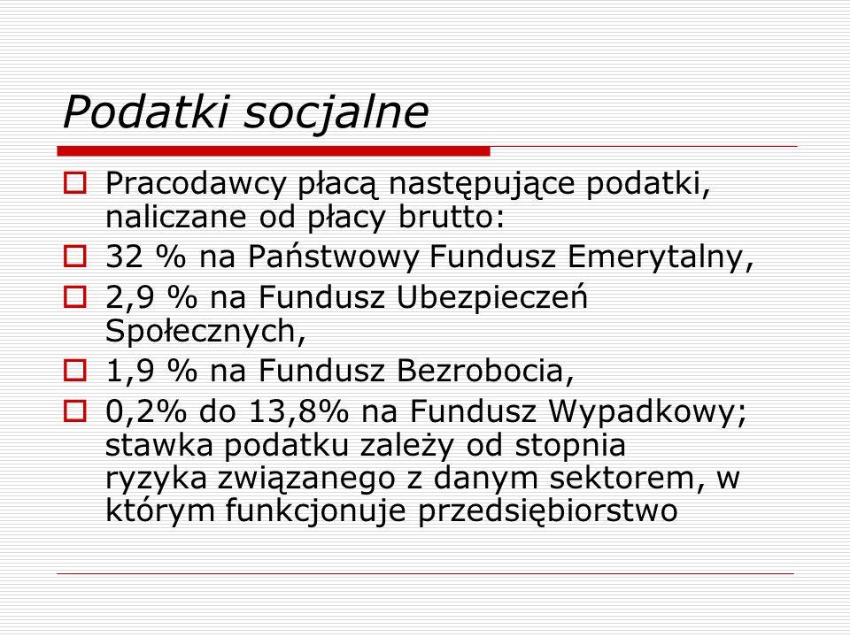 Podatki socjalne Pracodawcy płacą następujące podatki, naliczane od płacy brutto: 32 % na Państwowy Fundusz Emerytalny, 2,9 % na Fundusz Ubezpieczeń Społecznych, 1,9 % na Fundusz Bezrobocia, 0,2% do 13,8% na Fundusz Wypadkowy; stawka podatku zależy od stopnia ryzyka związanego z danym sektorem, w którym funkcjonuje przedsiębiorstwo