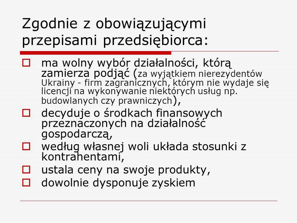 Zgodnie z obowiązującymi przepisami przedsiębiorca: ma wolny wybór działalności, którą zamierza podjąć ( za wyjątkiem nierezydentów Ukrainy - firm zagranicznych, którym nie wydaje się licencji na wykonywanie niektórych usług np.