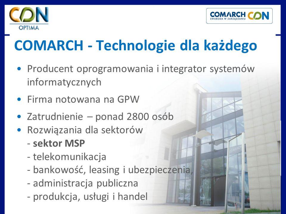 COMARCH - Technologie dla każdego Producent oprogramowania i integrator systemów informatycznych Firma notowana na GPW Zatrudnienie – ponad 2800 osób Rozwiązania dla sektorów - sektor MSP - telekomunikacja - bankowość, leasing i ubezpieczenia, - administracja publiczna - produkcja, usługi i handel