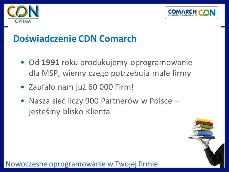 Doświadczenie CDN Comarch Od 1991 roku produkujemy oprogramowanie dla MSP, wiemy czego potrzebują małe firmy Zaufało nam już 60 000 Firm! Nasza sieć l
