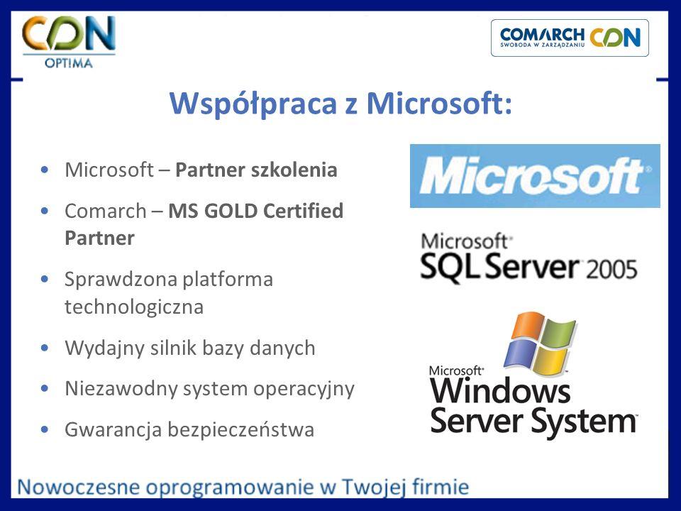 Współpraca z Microsoft: Microsoft – Partner szkolenia Comarch – MS GOLD Certified Partner Sprawdzona platforma technologiczna Wydajny silnik bazy danych Niezawodny system operacyjny Gwarancja bezpieczeństwa