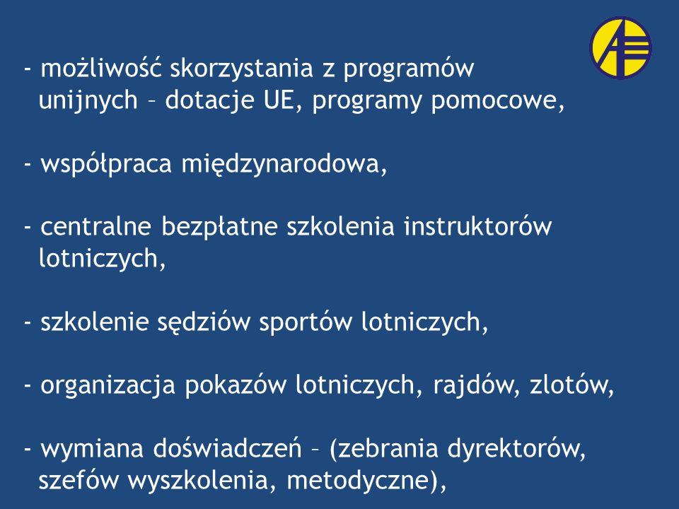 - możliwość skorzystania z programów unijnych – dotacje UE, programy pomocowe, - współpraca międzynarodowa, - centralne bezpłatne szkolenia instruktor