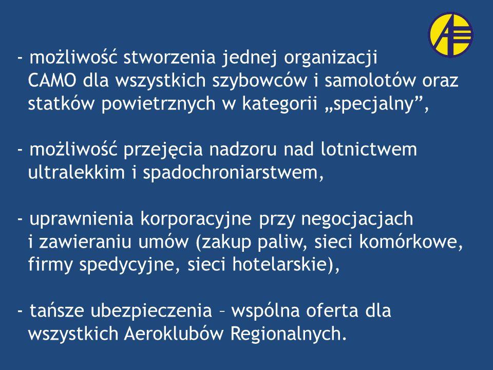 - możliwość stworzenia jednej organizacji CAMO dla wszystkich szybowców i samolotów oraz statków powietrznych w kategorii specjalny, - możliwość przej