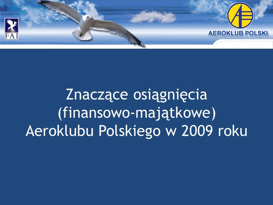 Znaczące osiągnięcia (finansowo-majątkowe) Aeroklubu Polskiego w 2009 roku