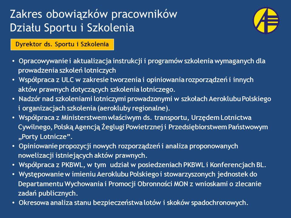 Zakres obowiązków pracowników Działu Sportu i Szkolenia Opracowywanie i aktualizacja instrukcji i programów szkolenia wymaganych dla prowadzenia szkol