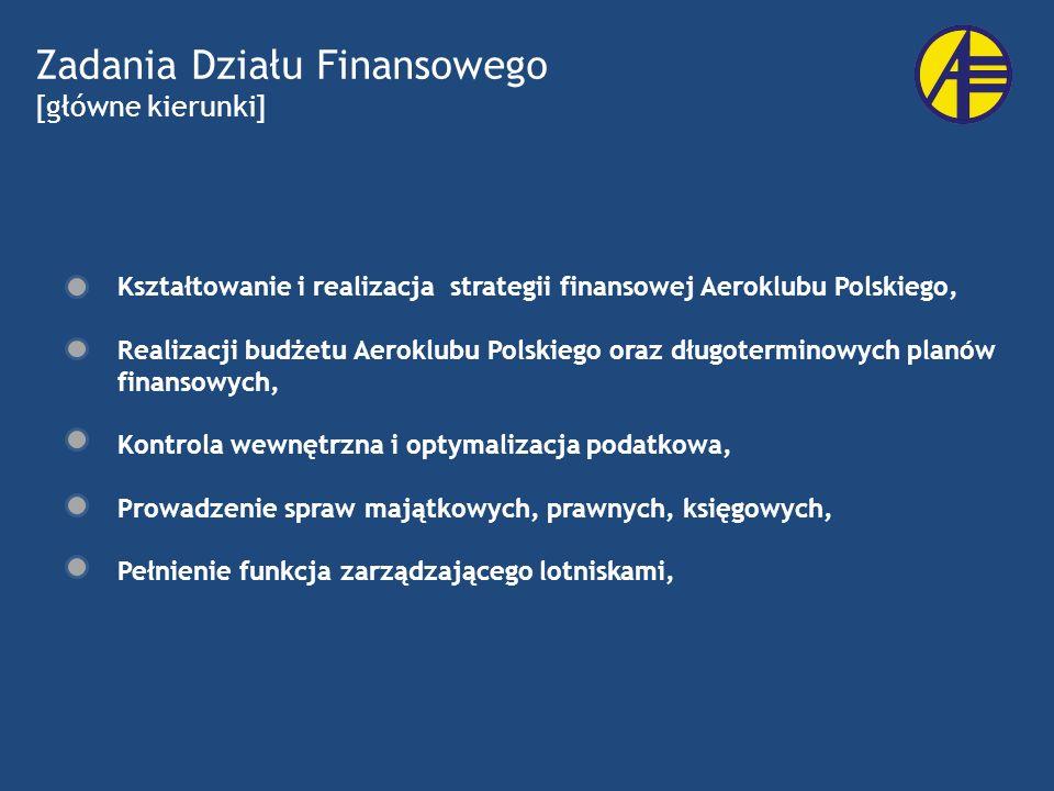 Zadania Działu Finansowego [główne kierunki] Kształtowanie i realizacja strategii finansowej Aeroklubu Polskiego, Realizacji budżetu Aeroklubu Polskie