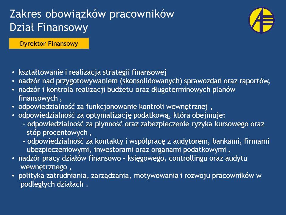 Zakres obowiązków pracowników Dział Finansowy Dyrektor Finansowy kształtowanie i realizacja strategii finansowej nadzór nad przygotowywaniem (skonsoli