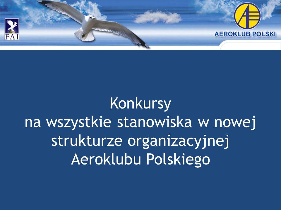 Konkursy na wszystkie stanowiska w nowej strukturze organizacyjnej Aeroklubu Polskiego
