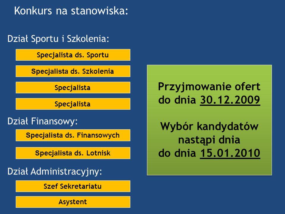 Konkurs na stanowiska: Przyjmowanie ofert do dnia 30.12.2009 Wybór kandydatów nastąpi dnia do dnia 15.01.2010 Przyjmowanie ofert do dnia 30.12.2009 Wy