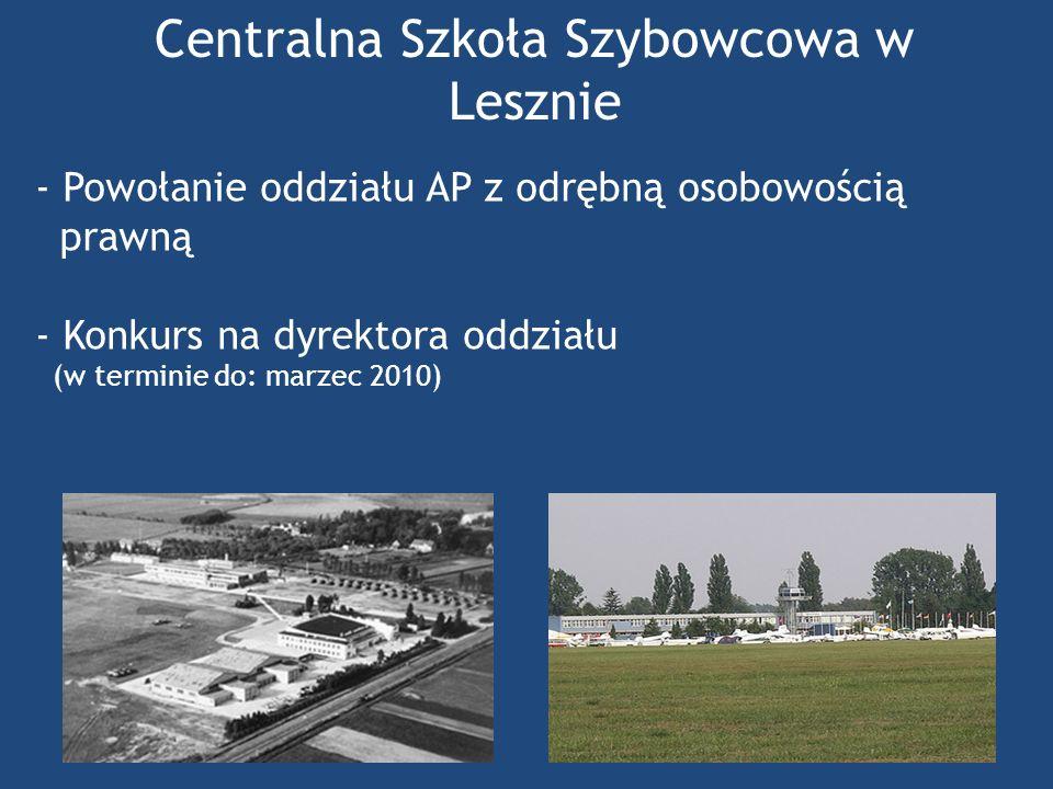 Centralna Szkoła Szybowcowa w Lesznie - Powołanie oddziału AP z odrębną osobowością prawną - Konkurs na dyrektora oddziału (w terminie do: marzec 2010