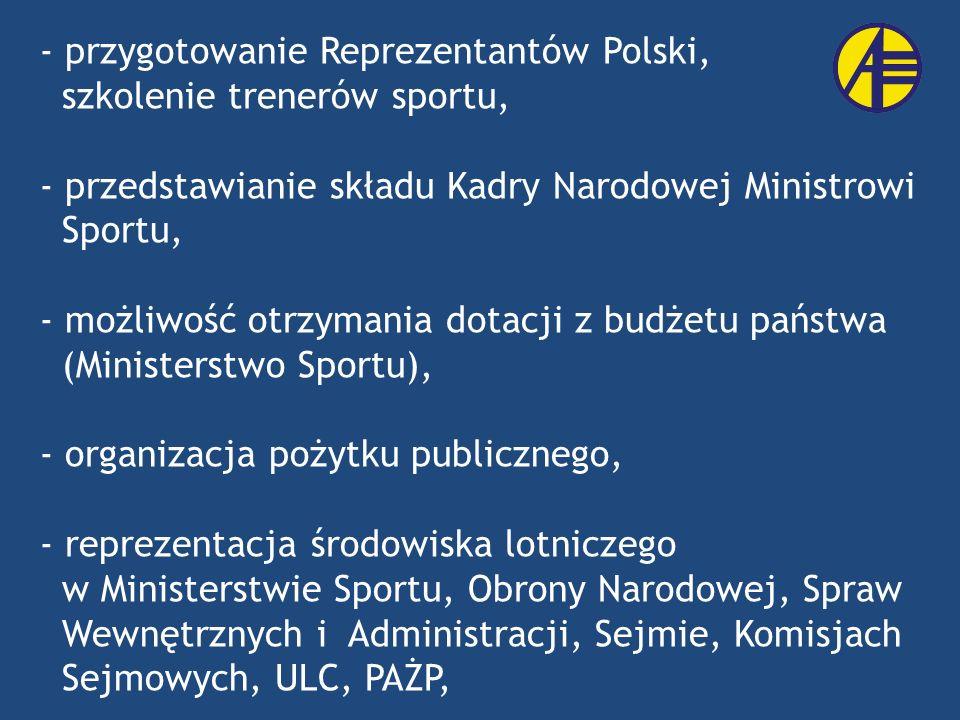 - przygotowanie Reprezentantów Polski, szkolenie trenerów sportu, - przedstawianie składu Kadry Narodowej Ministrowi Sportu, - możliwość otrzymania do