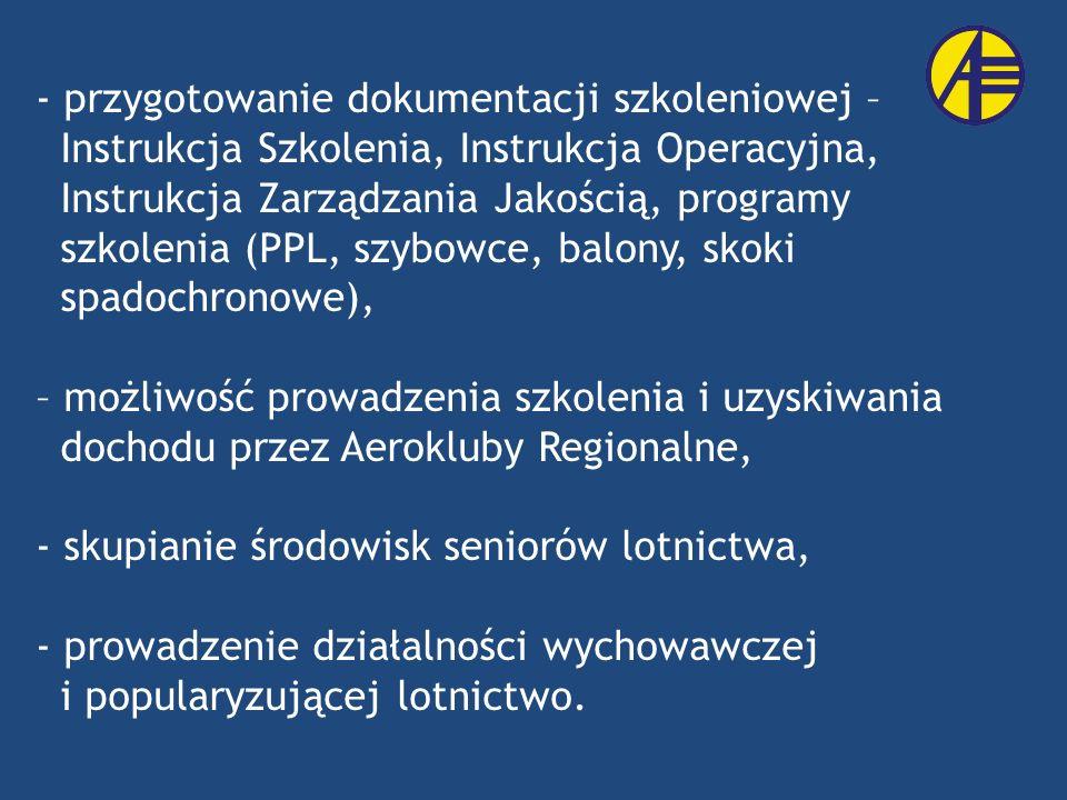- przygotowanie dokumentacji szkoleniowej – Instrukcja Szkolenia, Instrukcja Operacyjna, Instrukcja Zarządzania Jakością, programy szkolenia (PPL, szy