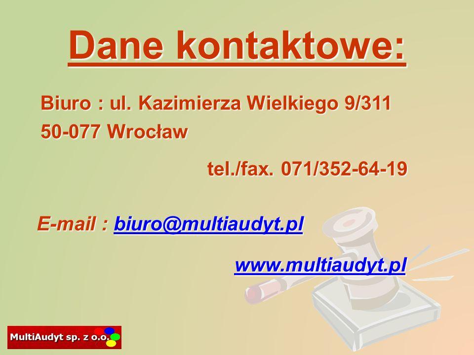 Dane kontaktowe: tel./fax.