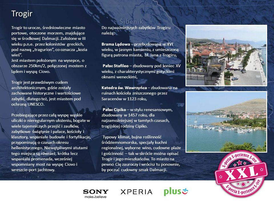Trogir to urocze, średniowieczne miasto portowe, otoczone morzem, znajdujące się w środkowej Dalmacji. Założone w III wieku p.n.e. przez kolonistów gr