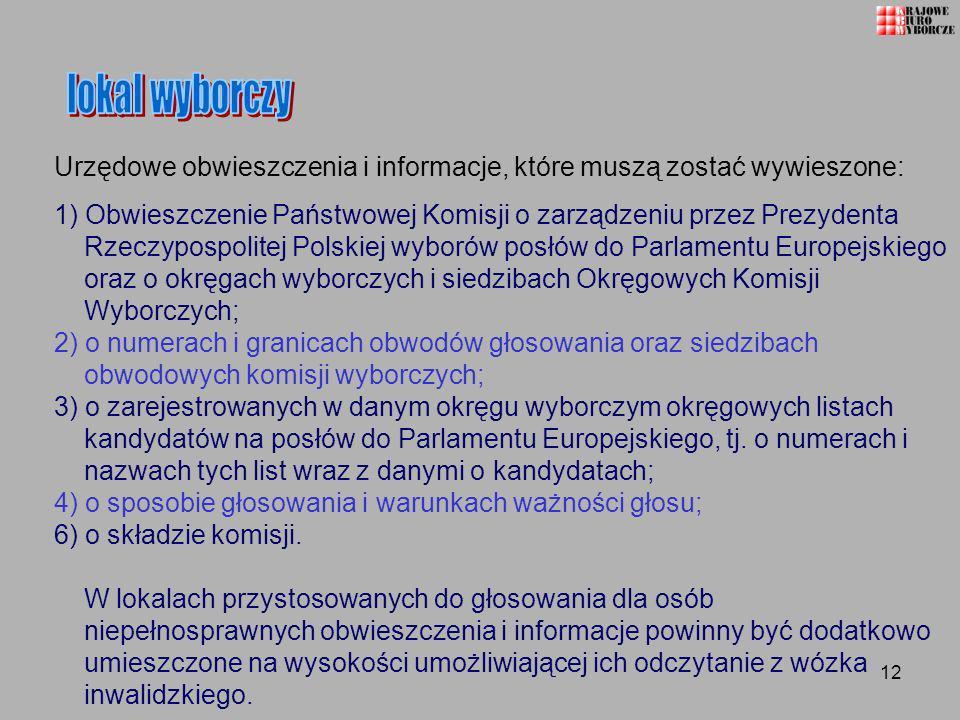12 Urzędowe obwieszczenia i informacje, które muszą zostać wywieszone: 1) Obwieszczenie Państwowej Komisji o zarządzeniu przez Prezydenta Rzeczypospol
