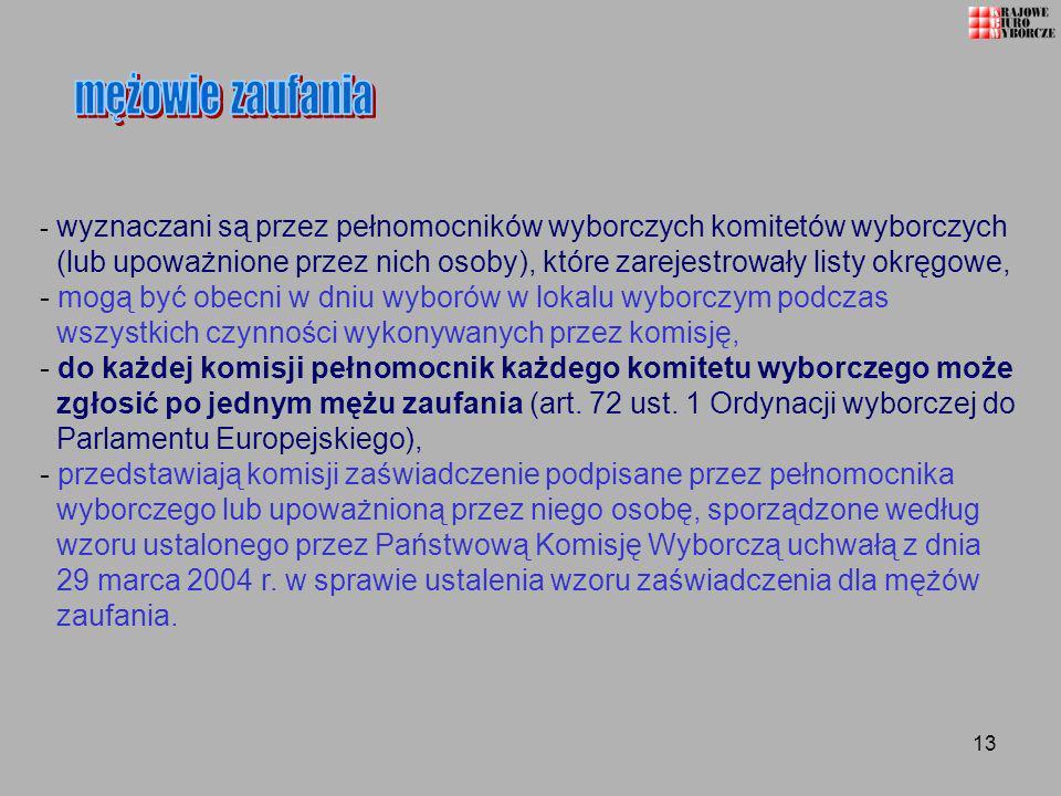 13 - wyznaczani są przez pełnomocników wyborczych komitetów wyborczych (lub upoważnione przez nich osoby), które zarejestrowały listy okręgowe, - mogą