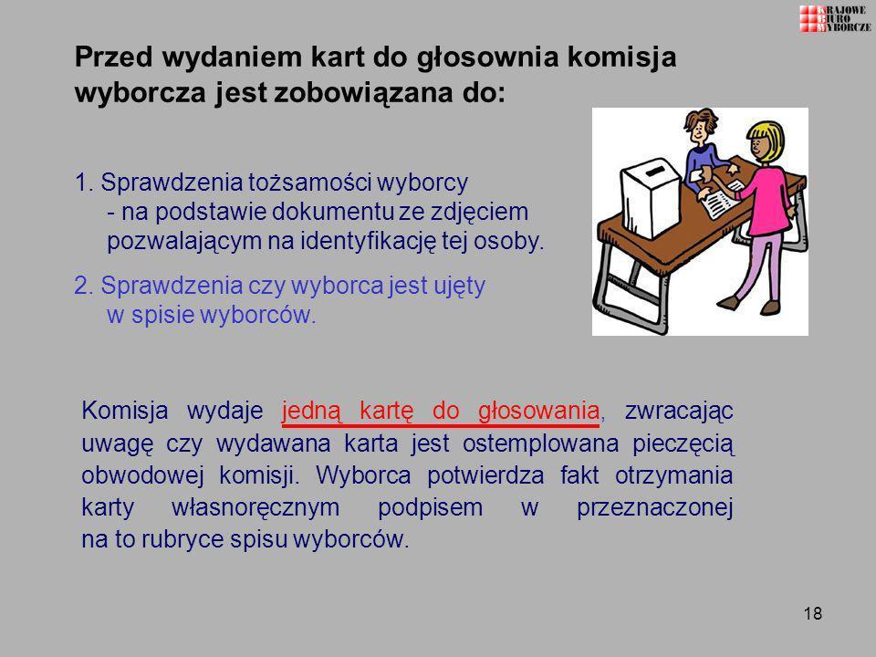 18 Przed wydaniem kart do głosownia komisja wyborcza jest zobowiązana do: 1. Sprawdzenia tożsamości wyborcy - na podstawie dokumentu ze zdjęciem pozwa