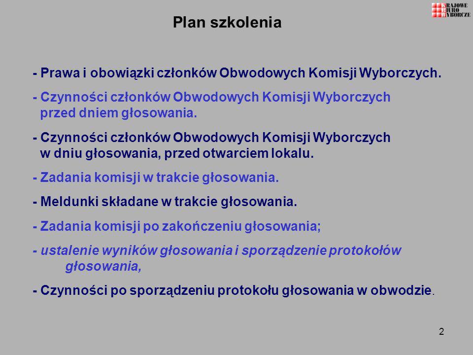 2 Plan szkolenia - Prawa i obowiązki członków Obwodowych Komisji Wyborczych. - Czynności członków Obwodowych Komisji Wyborczych przed dniem głosowania