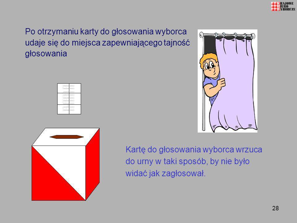 28 Po otrzymaniu karty do głosowania wyborca udaje się do miejsca zapewniającego tajność głosowania Kartę do głosowania wyborca wrzuca do urny w taki