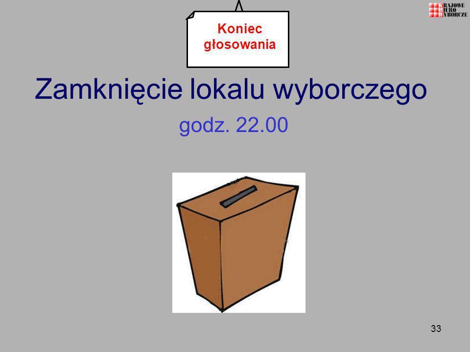 33 Zamknięcie lokalu wyborczego godz. 22.00 Koniec głosowania