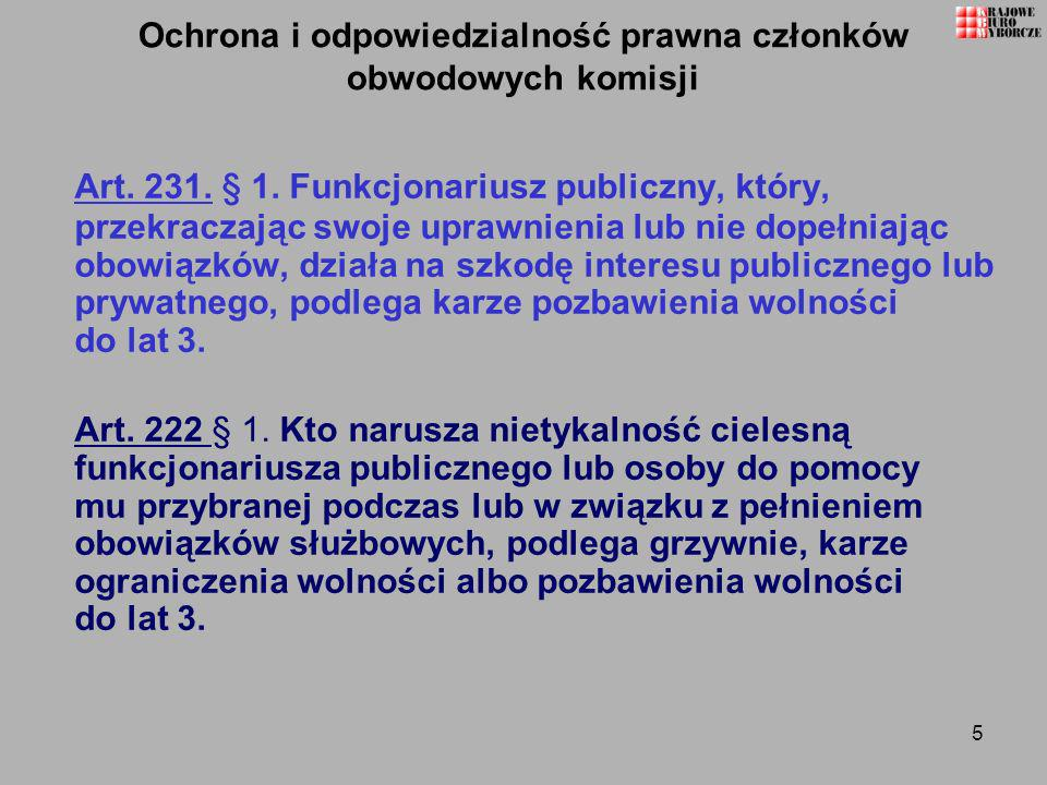 46 Ważność karty do głosowania Art.72.