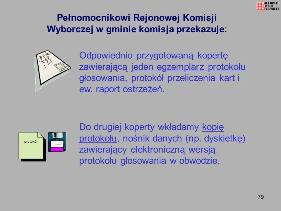 79 Pełnomocnikowi Rejonowej Komisji Wyborczej w gminie komisja przekazuje: Odpowiednio przygotowaną kopertę zawierającą jeden egzemplarz protokołu gło