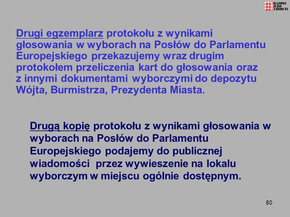 80 Drugi egzemplarz protokołu z wynikami głosowania w wyborach na Posłów do Parlamentu Europejskiego przekazujemy wraz drugim protokołem przeliczenia