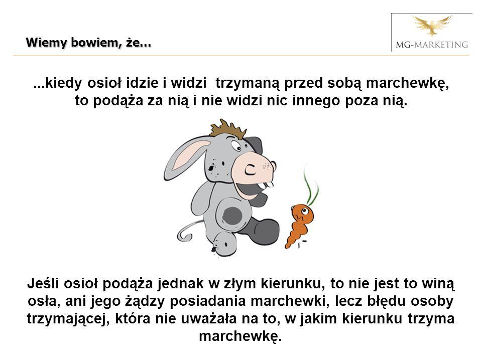...kiedy osioł idzie i widzi trzymaną przed sobą marchewkę, to podąża za nią i nie widzi nic innego poza nią.