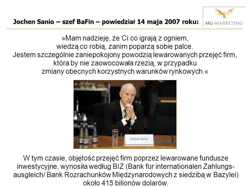 Jochen Sanio – szef BaFin – powiedzia ł 14 maja 2007 roku: »Mam nadzieję, że Ci co igrają z ogniem, wiedzą co robią, zanim poparzą sobie palce.