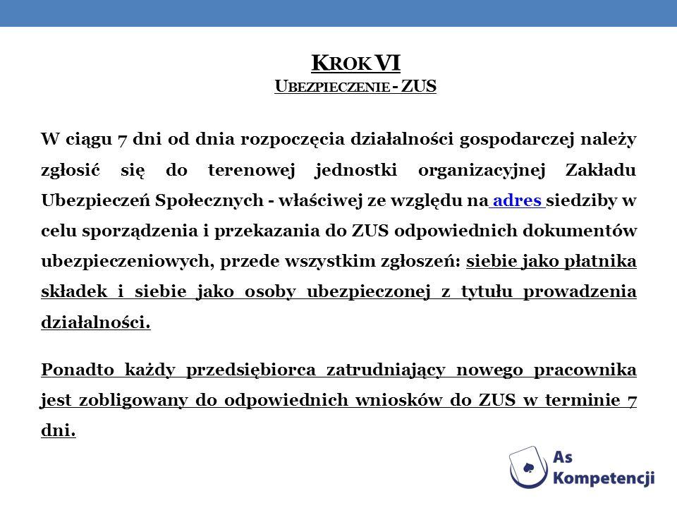 K ROK VI U BEZPIECZENIE - ZUS W ciągu 7 dni od dnia rozpoczęcia działalności gospodarczej należy zgłosić się do terenowej jednostki organizacyjnej Zak