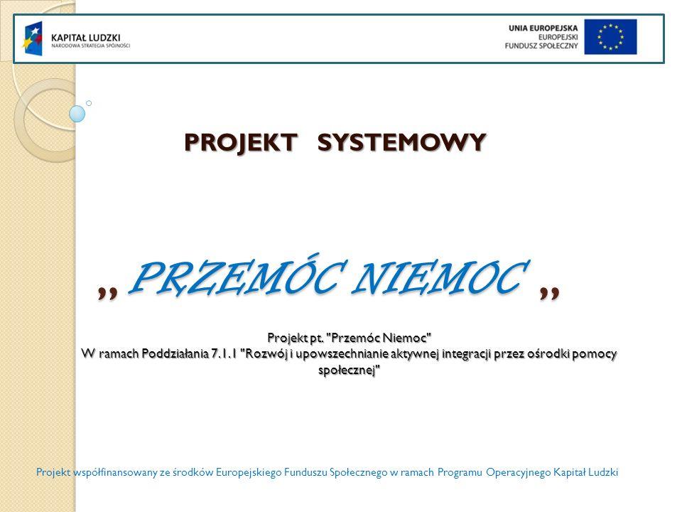 PRZEMÓC NIEMOC PRZEMÓC NIEMOC Ośrodek Pomocy Społecznej po raz pierwszy samodzielnie realizował projekt systemowy pt.