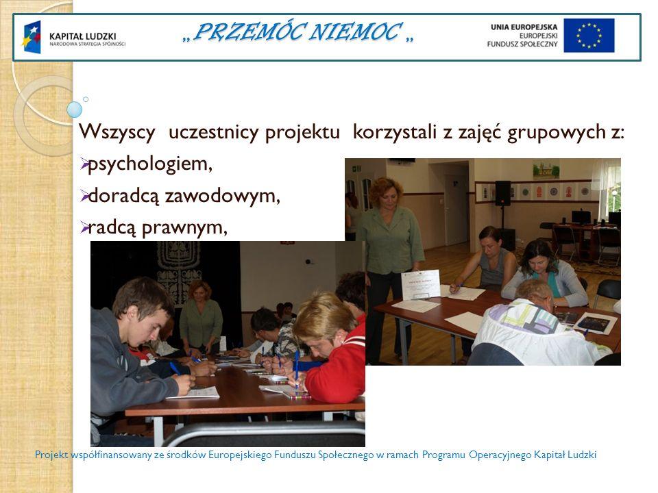 PRZEMÓC NIEMOC PRZEMÓC NIEMOC Wszyscy uczestnicy projektu korzystali z zajęć grupowych z: pomocy indywidualnej - psychologa, pomocy indywidualnej -doradcy zawodowego, warsztatów kulinarnych i komputerowych Projekt współfinansowany ze środków Europejskiego Funduszu Społecznego w ramach Programu Operacyjnego Kapitał Ludzki