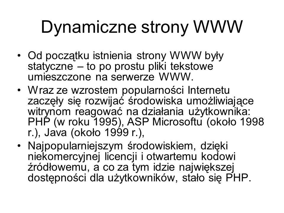 Dynamiczne strony WWW Od początku istnienia strony WWW były statyczne – to po prostu pliki tekstowe umieszczone na serwerze WWW. Wraz ze wzrostem popu