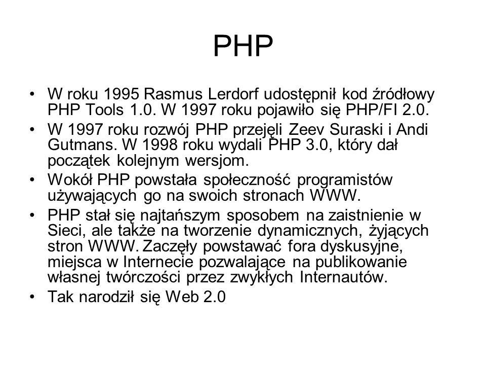 PHP W roku 1995 Rasmus Lerdorf udostępnił kod źródłowy PHP Tools 1.0. W 1997 roku pojawiło się PHP/FI 2.0. W 1997 roku rozwój PHP przejęli Zeev Surask