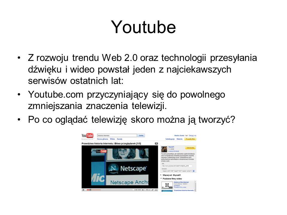 Youtube Z rozwoju trendu Web 2.0 oraz technologii przesyłania dźwięku i wideo powstał jeden z najciekawszych serwisów ostatnich lat: Youtube.com przyc