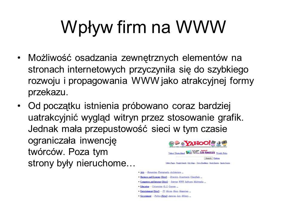 Wpływ firm na WWW Możliwość osadzania zewnętrznych elementów na stronach internetowych przyczyniła się do szybkiego rozwoju i propagowania WWW jako at