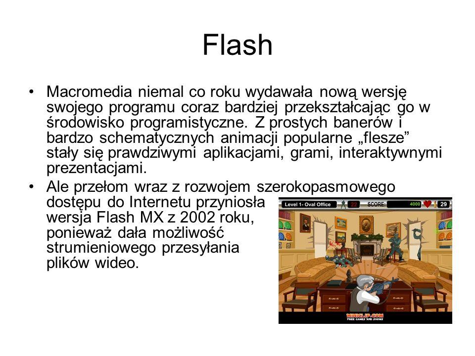 Flash Macromedia niemal co roku wydawała nową wersję swojego programu coraz bardziej przekształcając go w środowisko programistyczne. Z prostych baner
