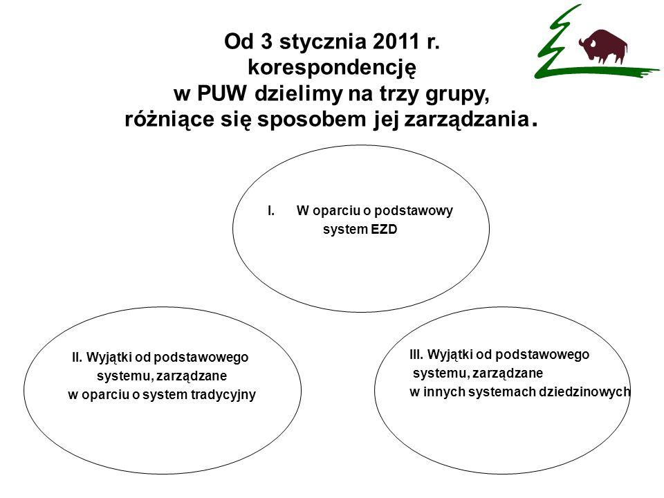 I.W oparciu o podstawowy system EZD Od 3 stycznia 2011 r. korespondencję w PUW dzielimy na trzy grupy, różniące się sposobem jej zarządzania. II. Wyją