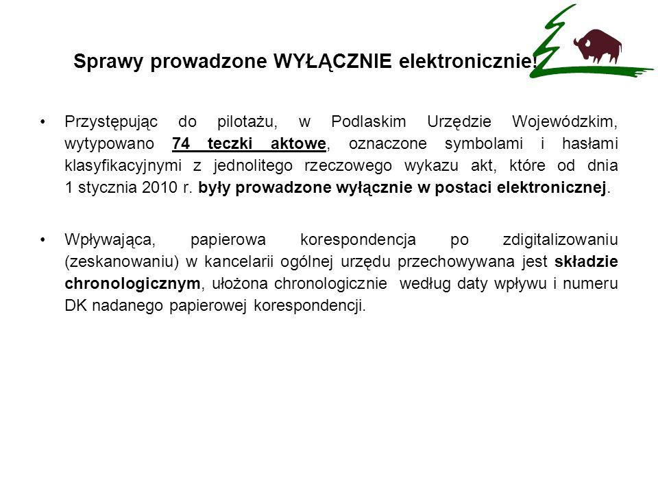 Przystępując do pilotażu, w Podlaskim Urzędzie Wojewódzkim, wytypowano 74 teczki aktowe, oznaczone symbolami i hasłami klasyfikacyjnymi z jednolitego
