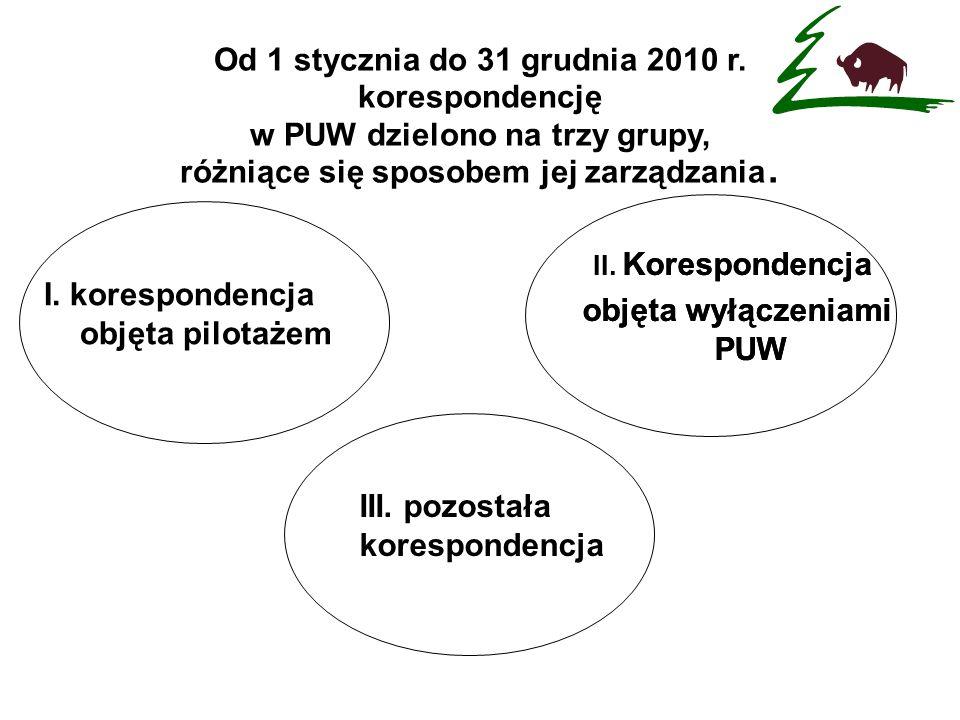 I. korespondencja objęta pilotażem Od 1 stycznia do 31 grudnia 2010 r. korespondencję w PUW dzielono na trzy grupy, różniące się sposobem jej zarządza