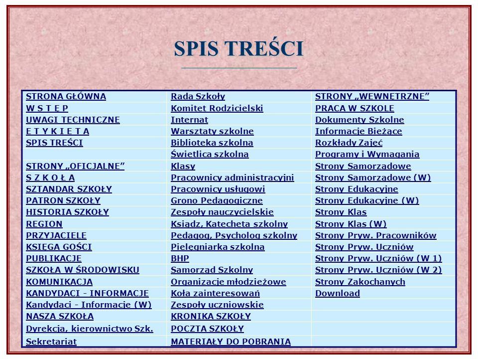 | spis treści |spis treści Te strony są oficjalnymi stronami Waszej Szkoły i tym samym są one publikowane w Internecie.