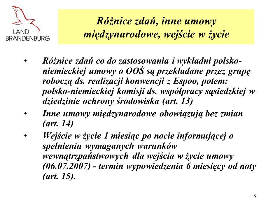 15 Różnice zdań, inne umowy międzynarodowe, wejście w życie Różnice zdań co do zastosowania i wykładni polsko- niemieckiej umowy o OOŚ są przekładane