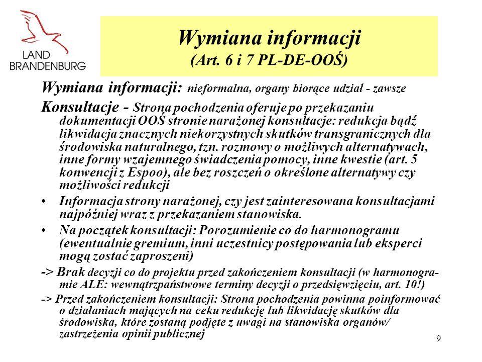 9 Wymiana informacji (Art. 6 i 7 PL-DE-OOŚ) Wymiana informacji: nieformalna, organy biorące udział - zawsze Konsultacje - Strona pochodzenia oferuje p