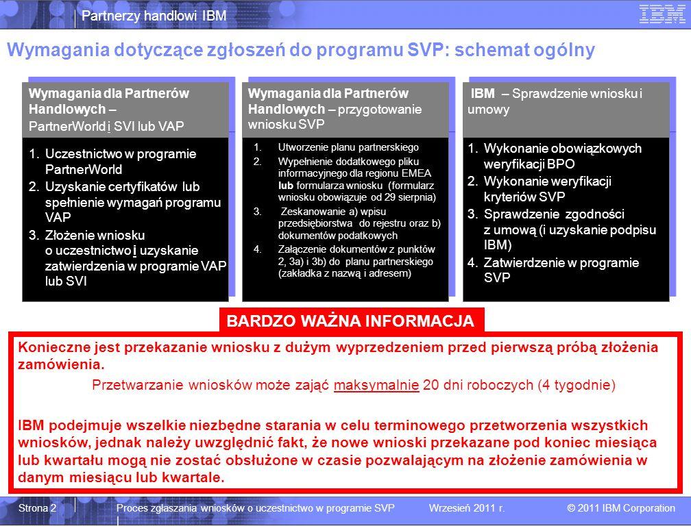 Partnerzy handlowi IBM © 2011 IBM Corporation Proces zgłaszania wniosków o uczestnictwo w programie SVP | Wrzesień 2011 r.Strona 2 Wymagania dotyczące zgłoszeń do programu SVP: schemat ogólny Wymagania dla Partnerów Handlowych – PartnerWorld i SVI lub VAP Wymagania dla Partnerów Handlowych – przygotowanie wniosku SVP IBM – Sprawdzenie wniosku i umowy 1.Uczestnictwo w programie PartnerWorld 2.Uzyskanie certyfikatów lub spełnienie wymagań programu VAP 3.Złożenie wniosku o uczestnictwo i uzyskanie zatwierdzenia w programie VAP lub SVI 1.Utworzenie planu partnerskiego 2.Wypełnienie dodatkowego pliku informacyjnego dla regionu EMEA lub formularza wniosku (formularz wniosku obowiązuje od 29 sierpnia) 3.