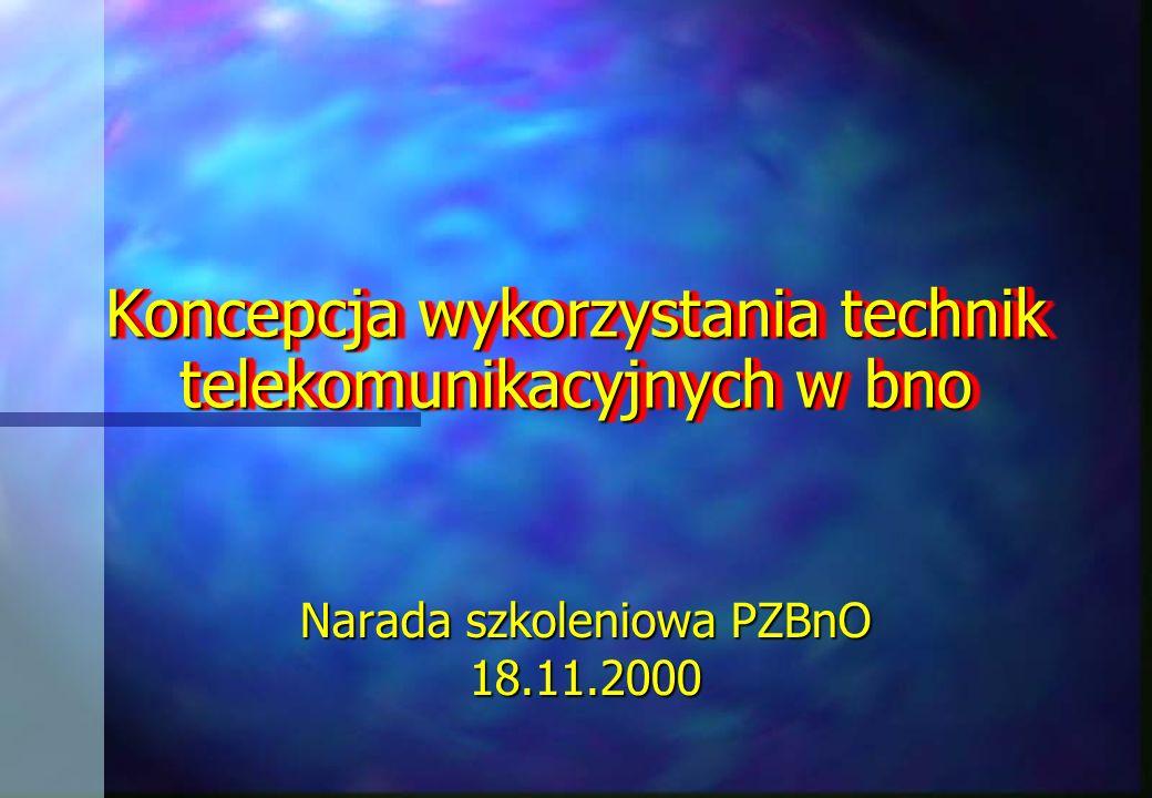 Koncepcja wykorzystania technik telekomunikacyjnych w bno Narada szkoleniowa PZBnO 18.11.2000