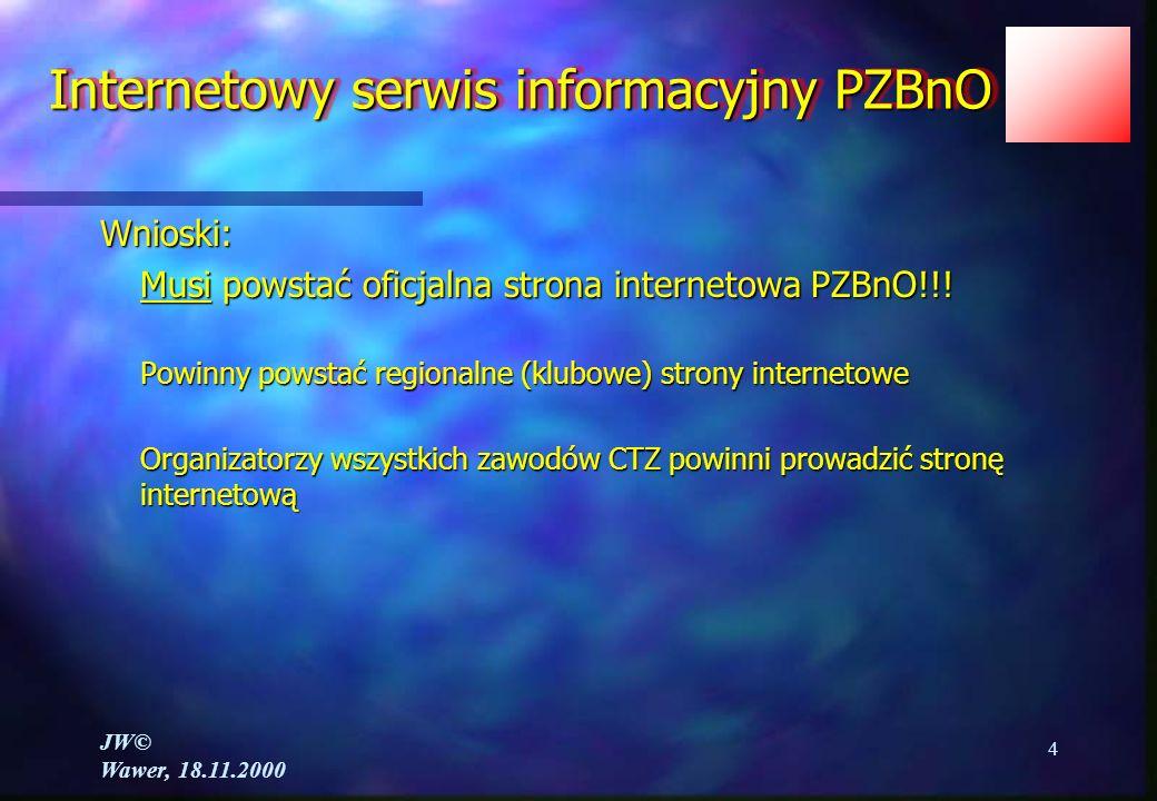 JW© Wawer, 18.11.2000 4 Internetowy serwis informacyjny PZBnO Wnioski: Musi powstać oficjalna strona internetowa PZBnO!!.