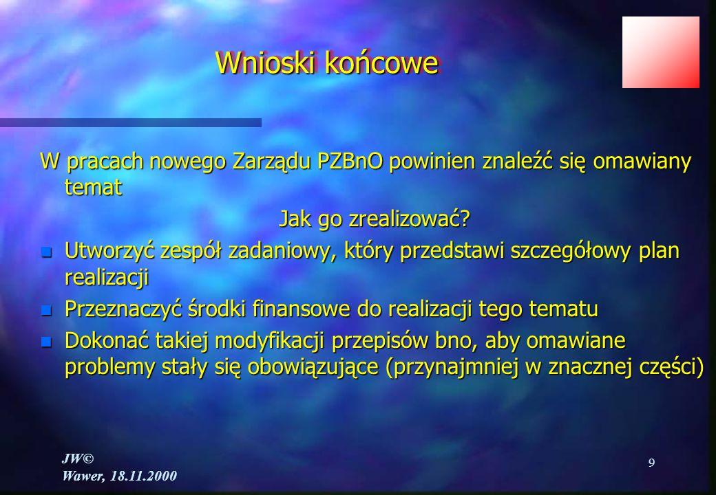 JW© Wawer, 18.11.2000 9 W pracach nowego Zarządu PZBnO powinien znaleźć się omawiany temat Jak go zrealizować.