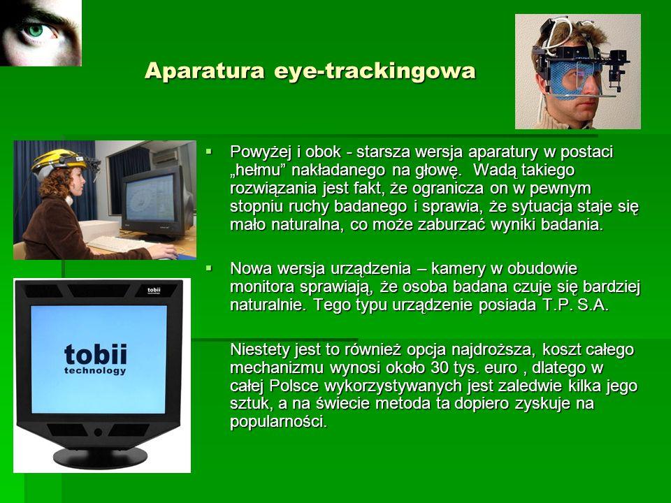 Aparatura eye-trackingowa Aparatura eye-trackingowa Powyżej i obok - starsza wersja aparatury w postaci hełmu nakładanego na głowę. Wadą takiego rozwi